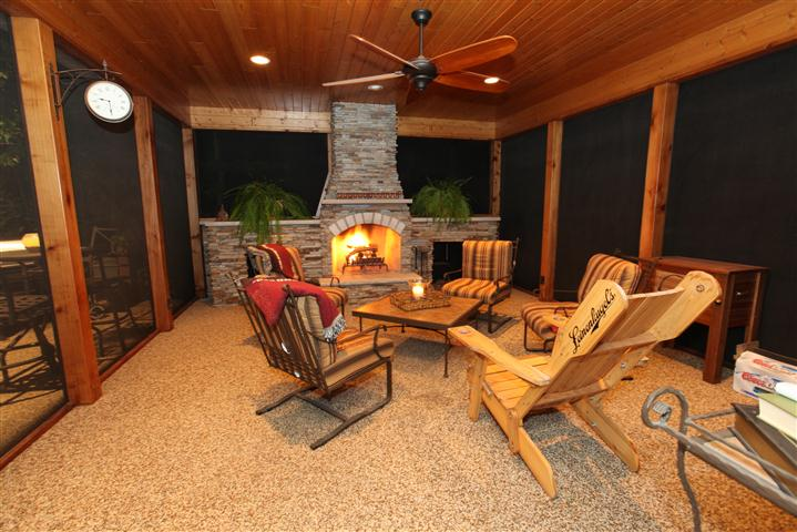Screened back porch designs for Back porch fireplace